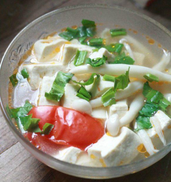 Món chay ngon canh đậu nấu nấm hải sản 1