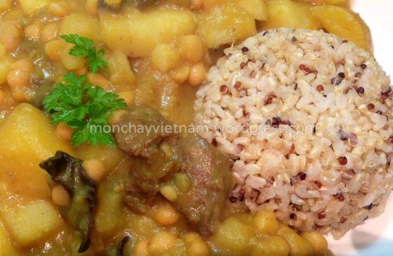 Món chay : Cơm Ki-Noa với khoai tây xào đậu trắng