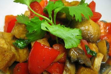 Đậu hủ khìa nấm và ớt chuông 1