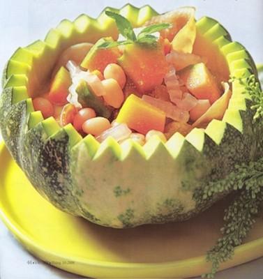 Món chay: canh bí ngô hầm dừa