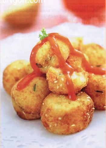 Món chay:Bánh khoai tây rán vừng