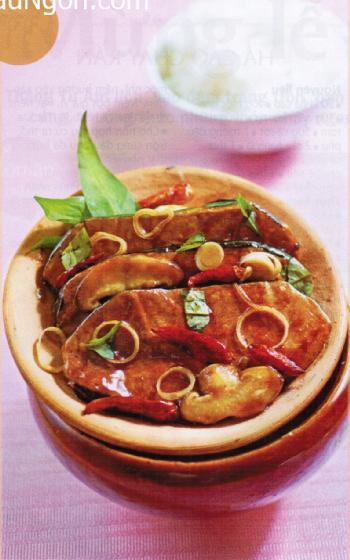 Món chay cá thu kho nấm.