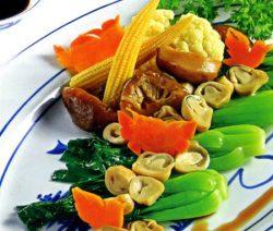 Món chay cải thìa sốt nấm. 1