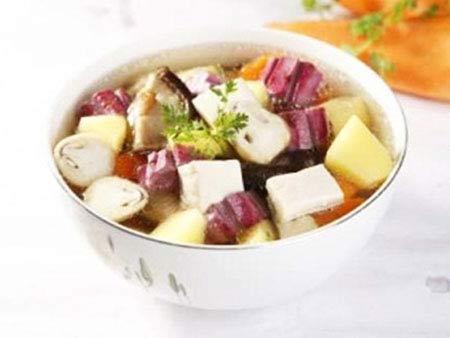 Món chay canh khoai nấu nấm 1
