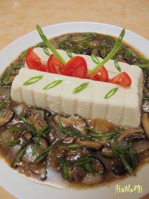 Món chay đậu mơ sốt nấm tương bần.