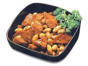Món chay : Mì căn non hầm đậu phộng . 1