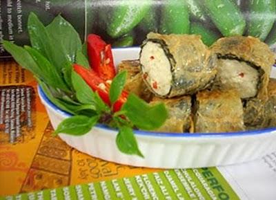 Món chay : Rong biển cuốn đậu hủ . 1