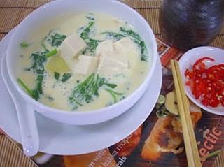 Món chay : Soup sà – lách son sữa đậu nành . 1
