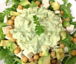 mon chay : Salad cải cúc đậu gà sốt trái bơ. 4